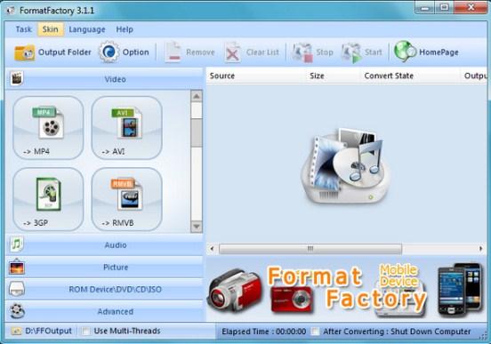 Phần mềm cắt video FormatFactory