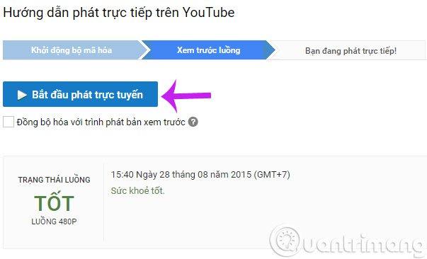 Cách phát live stream youtube