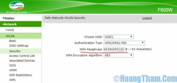 Cách đổi mật khẩu wifi