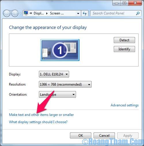 Cách thay đổi cỡ chữ màn hình máy tính 1