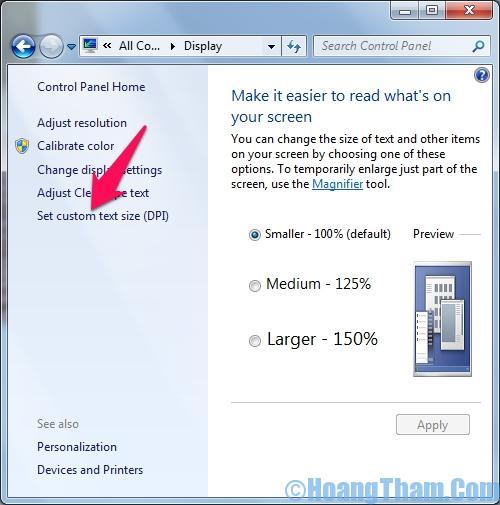 Cách thay đổi cỡ chữ trên màn hình máy tính 2
