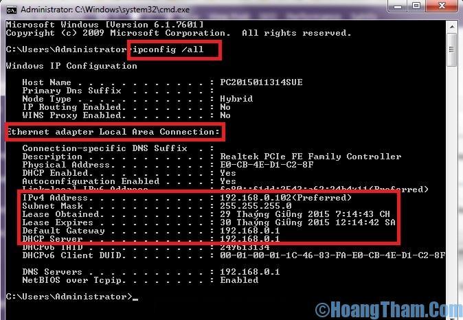 Cách thay đổi địa chỉ IP cho máy tính