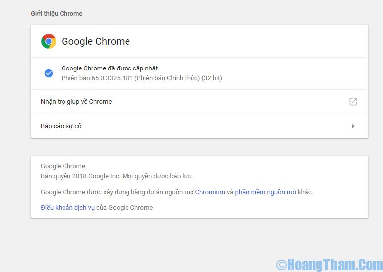 cập nhật trình duyệt google chrome phiên bản mới