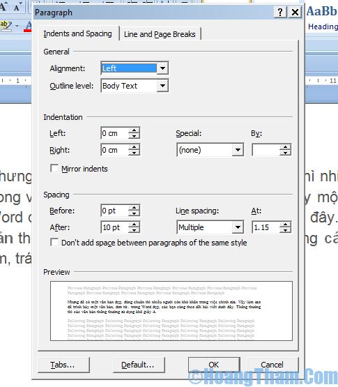 Cách định dang văn bản trong Word