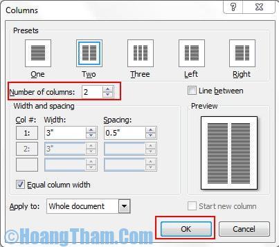 Cách chia cột trong file Word