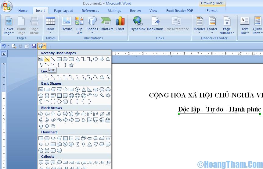 Cách gạch chân chữ trong Word 2007