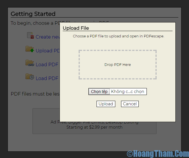 Upload PDF to PDFescape