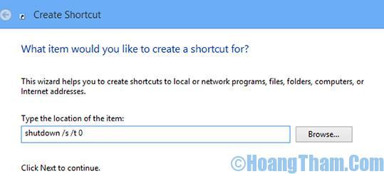 Tạo nút shutdown trên màn hình windows