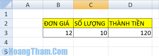 Phép chia trong Excel