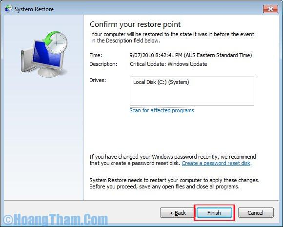 Sử dụng system restore trong win 7