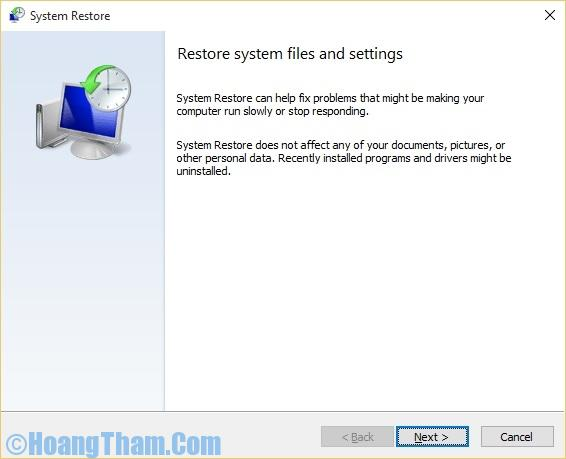 Sử dụng system restore trong win 10