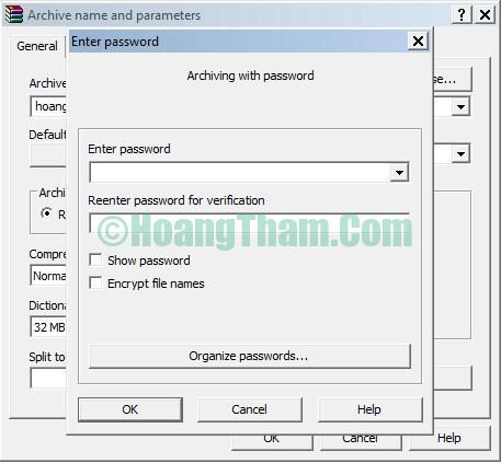Đặt mật khẩu cho file nén bằng winrar 2
