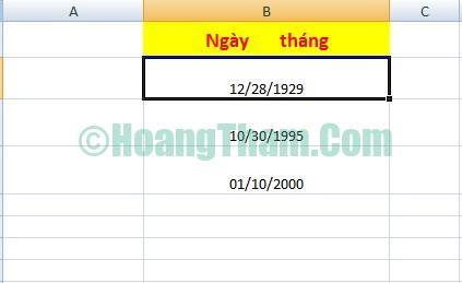 Định dạng ngày tháng trong Excel