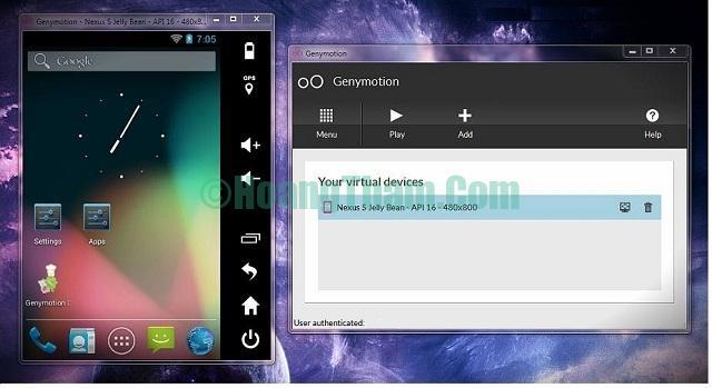 Phần mềm giả lập Android GenyMotion