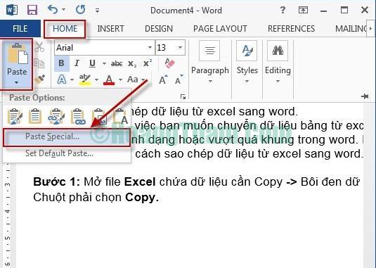 Cách copy dữ liệu từ file Excel sang Word 5