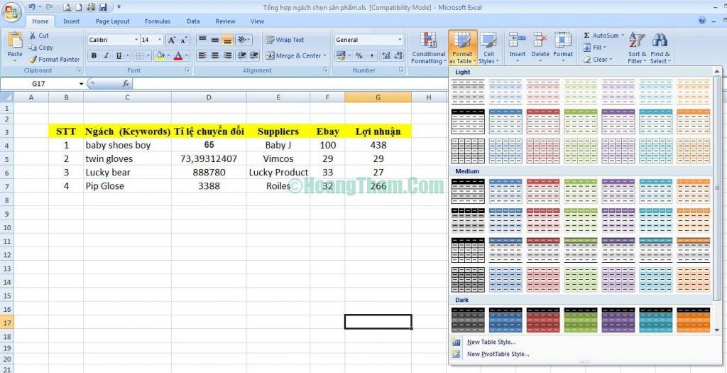 Cách kẻ bảng và tạo bảng trong Excel 2