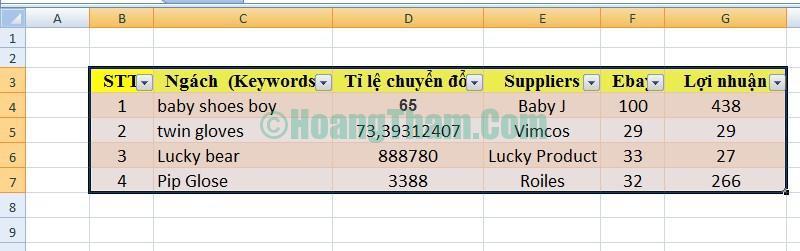 Cách kẻ bảng và tạo bảng trong Excel 3