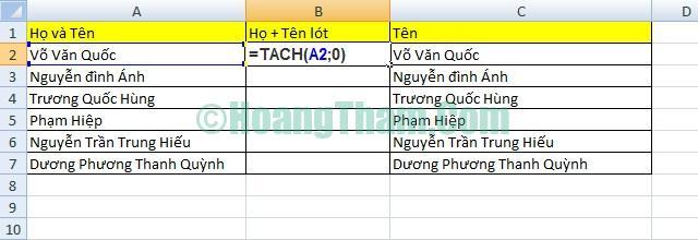 2 cách tách họ và tên trong Excel đơn giản 9