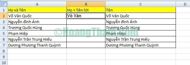 2 cách tách họ và tên trong Excel đơn giản 10