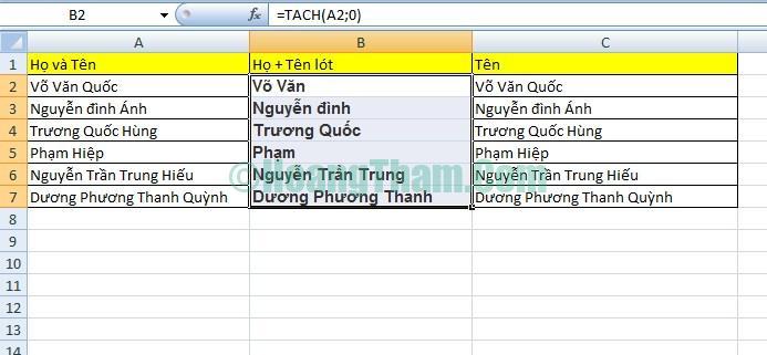 2 cách tách họ và tên trong Excel đơn giản 11