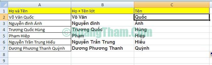 2 cách tách họ và tên trong Excel đơn giản 12