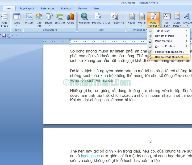 Cách xóa số trang trong Word