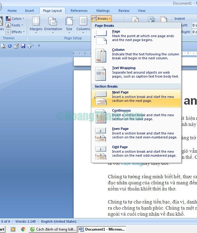 Cách đánh số trang bất kỳ và cách bỏ đánh số trang trong Word