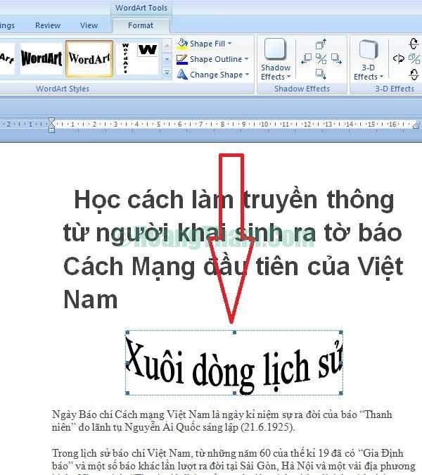 Cách tạo các kiểu chữ nghệ thuật trong Word 5
