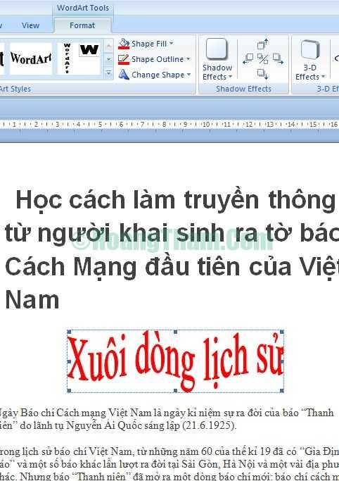 Cách tạo các kiểu chữ nghệ thuật trong Word 7