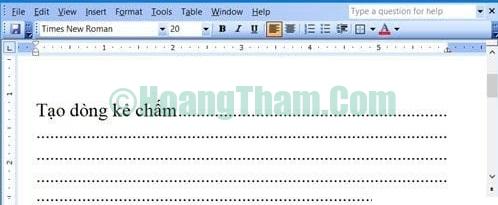Cách tạo dòng chấm trong Word 11