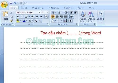 Cách tạo dòng chấm trong Word 5