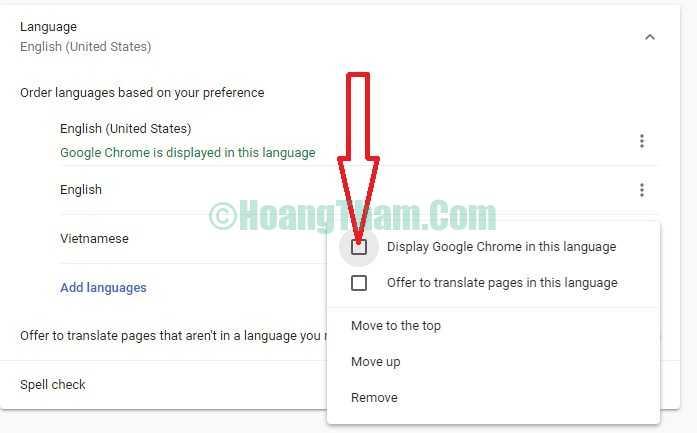 Hướng dẫn cài tiếng Việt cho Google Chrome 8