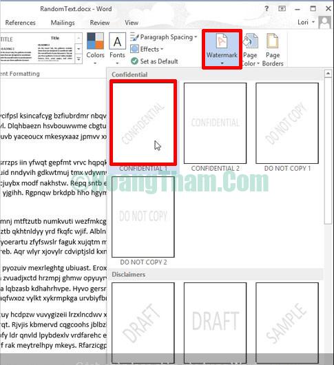 Cách chèn ảnh trong word - chèn logo và chữ watermark 12