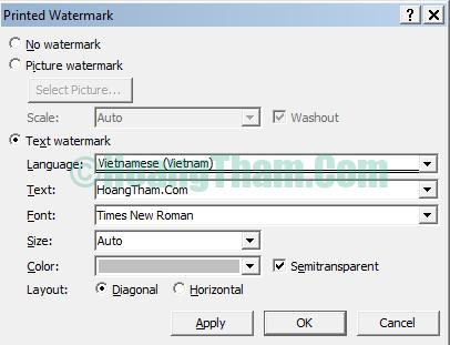 Cách chèn ảnh trong word - chèn logo và chữ watermark 9