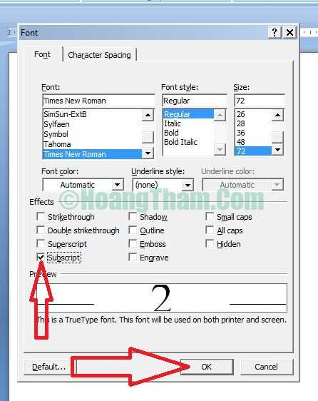 Cách đánh số mũ - cách đánh chỉ số trên và chỉ số dưới trong Word 5