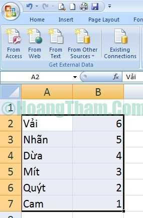 Cách đảo ngược dữ liệu cột trong excel 4