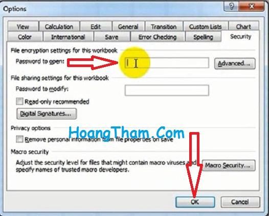 Cách đặt mật khẩu cho file excel 2003 -3