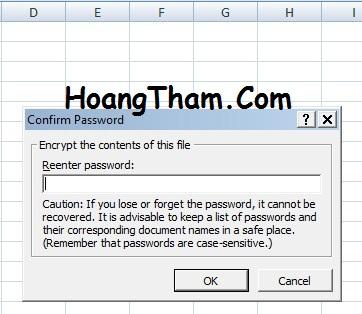 1. Cách đặt mật khẩu cho file trên Excel 2007 3