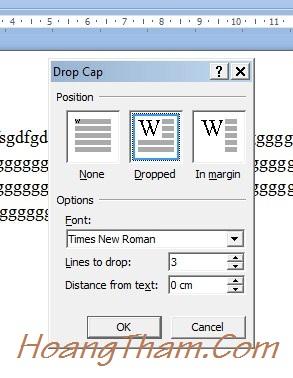 Cách tạo chữ cái lớn đầu dòng trong Word 4