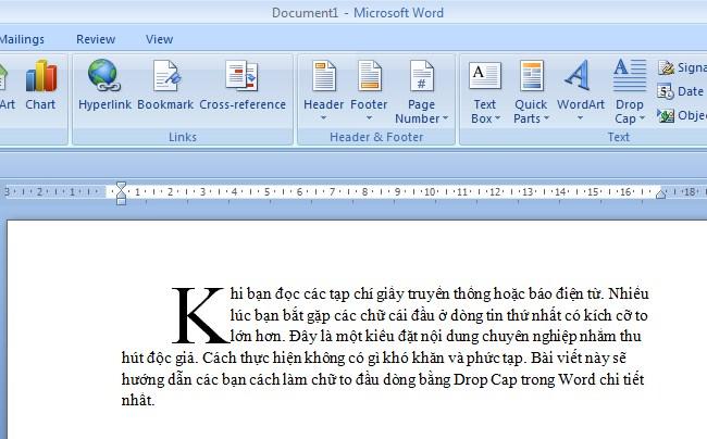 Cách tạo chữ cái lớn đầu dòng trong Word 5