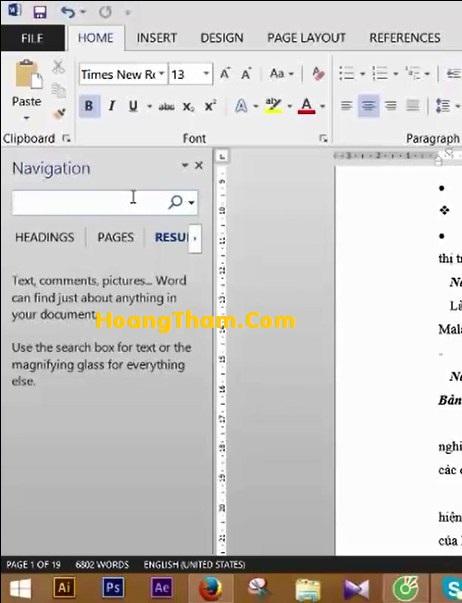 Cách tạo mục lục tự động trong Word 2013