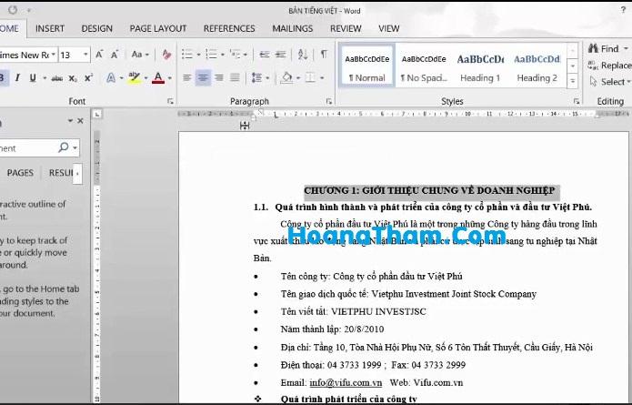 Cách tạo mục lục tự động trong Word 2013-2
