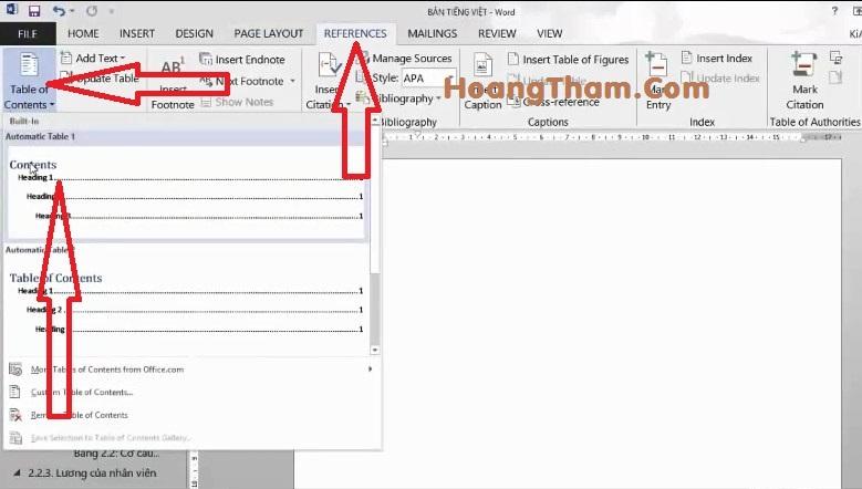 Cách tạo mục lục tự động trong Word 2013-6