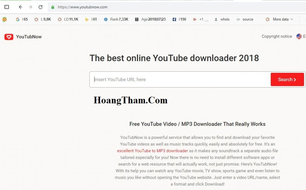 Tải video Youtube với Youtubnow.com