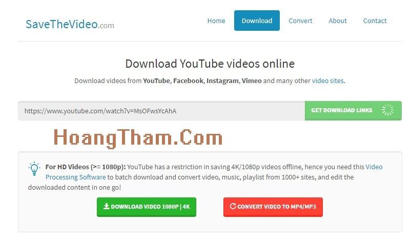 Sử dụng Savethevideo.Com để tải video Youtube về máy tính