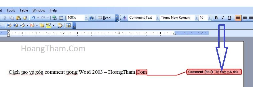 Cách tạo và xóa comment trong WOrd 2003