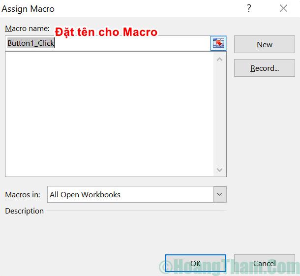 Cách tạo button trong Excel 4