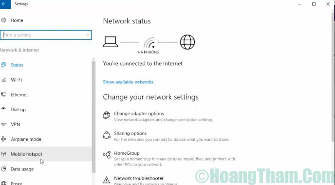 3-Cách phát wifi bằng laptop win 10