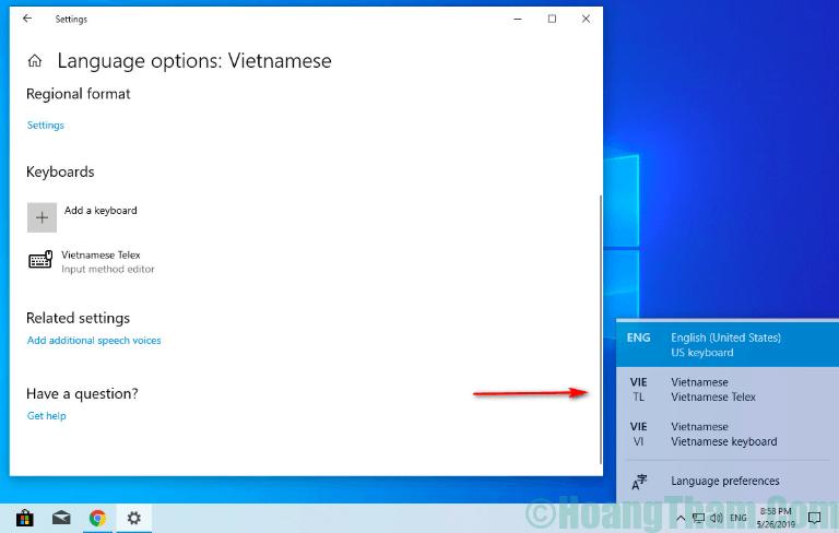 7-Kích hoạt bộ gõ tiếng Việt trên Windows 10