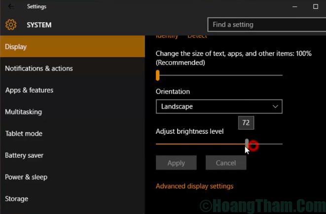 5-Cách chỉnh độ sáng màn hình laptop win 10